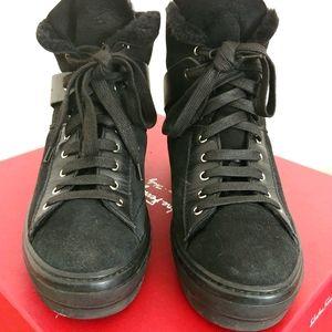 Salvatore Ferragamo fur suede high top sneakers
